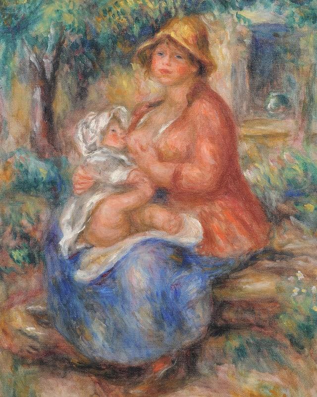 Aline Renoir ihren Sohn stillend