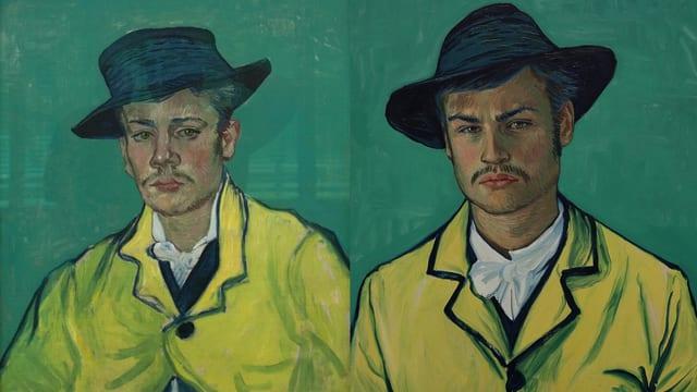 Links Vincent van Goghs Porträt von Armand Roulin, rechts Schauspieler Douglas Booth im Film.