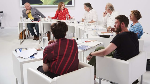 Eine Jury-Runde, eine Frau vorne trägt ein rot-dunkelrot gestreiftes Shirt.