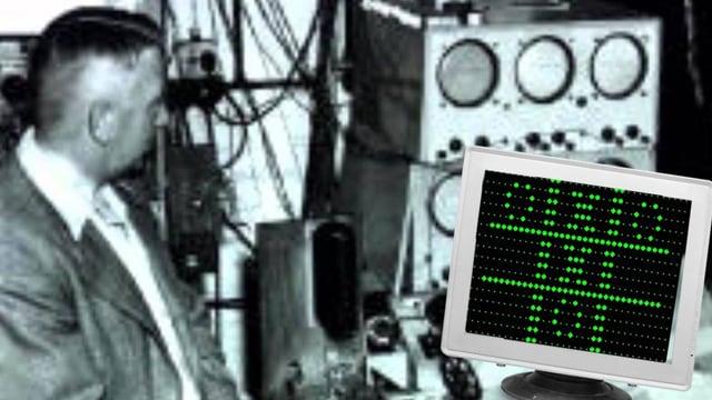 Ein Mann präsentiert 1952 das Spiel am Rechner