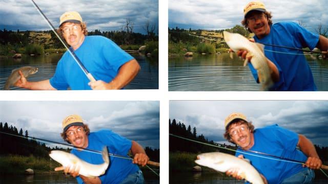 Vier Fotos eines Fischers mit seinem Fang.