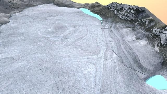 Gletscher mit zwei kleinen Seen