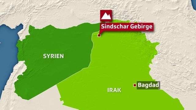 Karte von Irak und Syrien, Sindschar und Bagdad eingezeichnet.