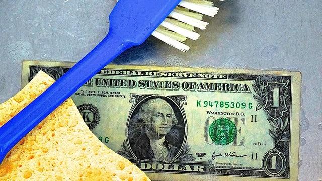 Ina bancnota dad in dollar, in barschun blau ed ina spungia melna.