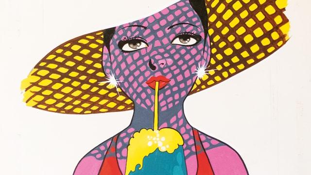 Zeichnung: Elegante Frau mit Hut trinkt aus Glas mit Strohhalm.