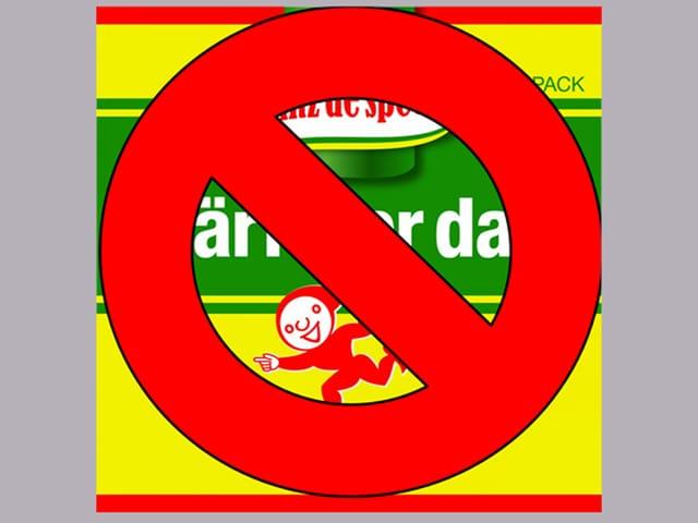 Das CD-Cover mit Knorrli und Aromat-Streifen, darüber ein Verbotszeichen.