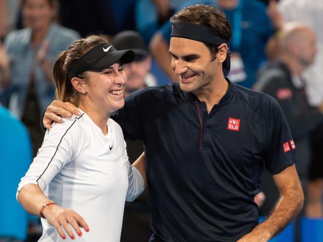 Belinda Bencic und Roger Federer am Hopman Cup Anfang Jahr in Perth.