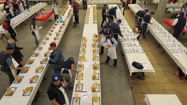Lange Tische in einer Messehalle. Darauf stehen verschiedene Käsesorten.