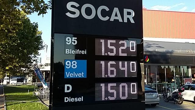 Schild vor einer Tankstelle mit Benzinpreisen.