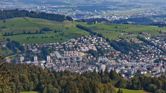 Flugbild der Gemeinde Kriens.