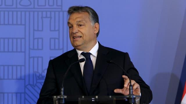 Der ungarische Premier Viktor Orban hält eine Rede