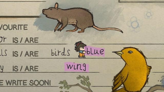 """Ein Vögelchen, ein Mädchen und der Text """"blue"""" und """"wing"""""""