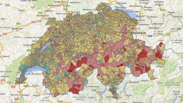 Interaktive Grafik der Schweiz