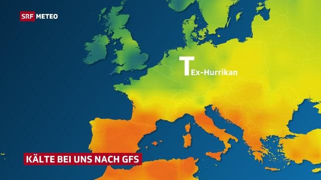 Karte mit Temperaturverteilung in Europa nach dem amerikanischen GFS-Modell. Kühle Luft von Nordeuropa bis in die Schweiz.