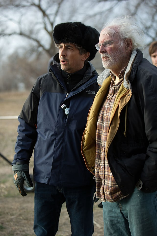 Regisseur Alexander Payne (links), neben Bruce Dern auf dem Filmset.