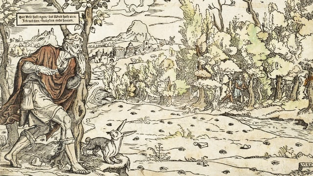 Ein Kupferstich zeigt einen Mann, der durch einen Wald spaziert, in dem überall Augen und Ohren sind.