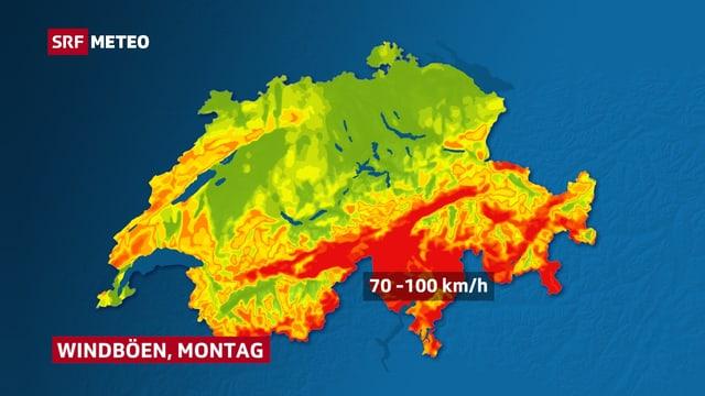 Schweizer Karte mit Böenspitzen im Süden con 70 bis 100 km/h.