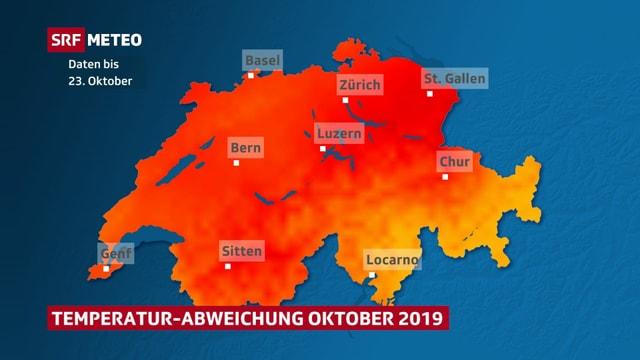 Schweizer Karte die Temperaturabweichung im Oktober zeigt