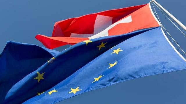 bandiera svizra e bandiera da UE