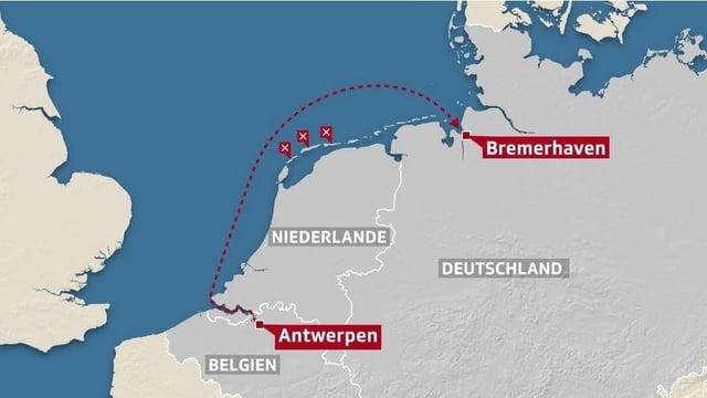 Die «MSC Zoe» war in Antwerpen mit dem Ziel Bremerhaven gestartet.