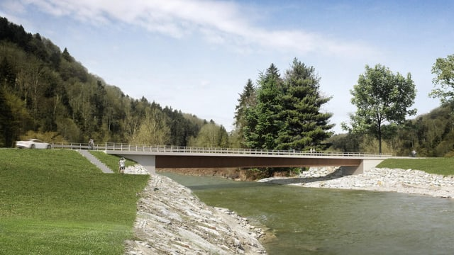 Projekt der neuen Langnauerbrücke über die Kleine Emme bei Schachen.