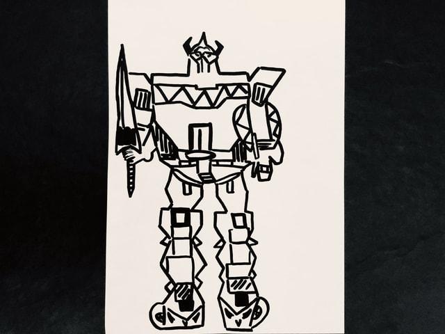 Zeichnung eines Mecha Roboters.
