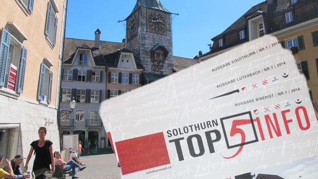 Brochuren zur Fusion vor Stadtansicht Solothurn