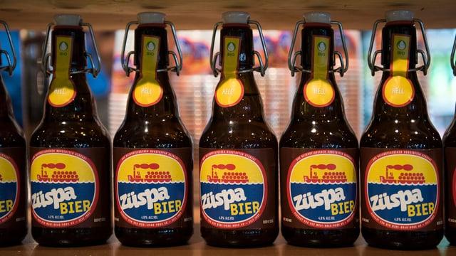 """Bierflaschen mit der Aufschrift """"Züspa Bier"""" stehen in einer Reihe auf dem Regal."""