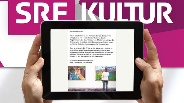 Zwei Hände halten ein Tablet, dahinter steht SRF Kultur.