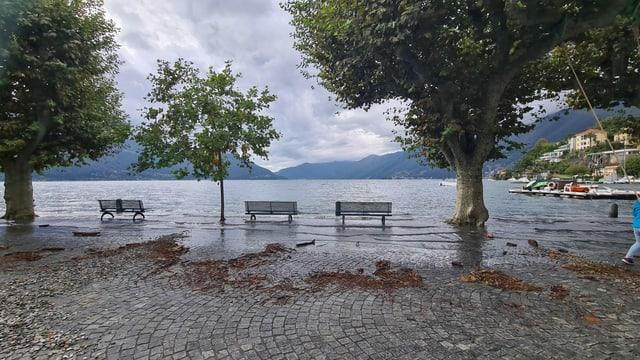 Die Promenadebänke in Ascona stehen im Wasser.
