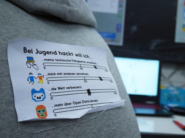 Ein Zettel auf einem grauen Pulli, im Hintergrund ein Computerbildschirm.