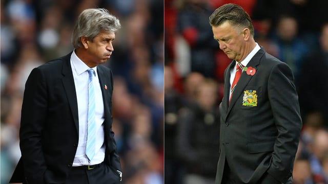 City-Trainer Manuel Pellegrini (l.) und United-Coach Louis van Gaal.