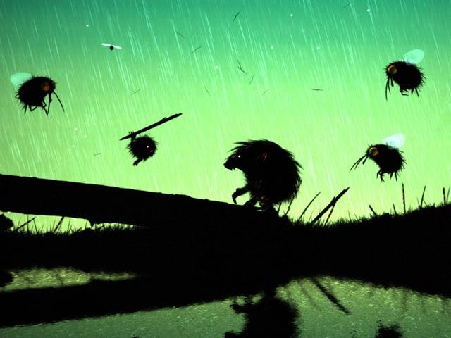 Eine Haarkugel schlägt einen Waldschrat, ringsherum flattern gefährliche Fliegen.