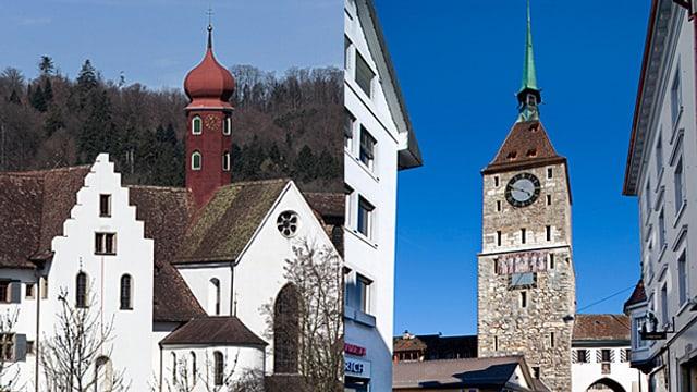 Das Kloster Wettingen links und der Obertorturm in der Aarauer Altstadt.