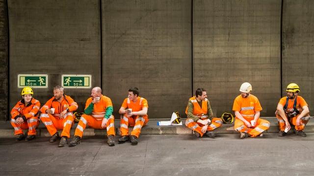 Bauarbeiter im Gotthard-Strassentunnel, 2016