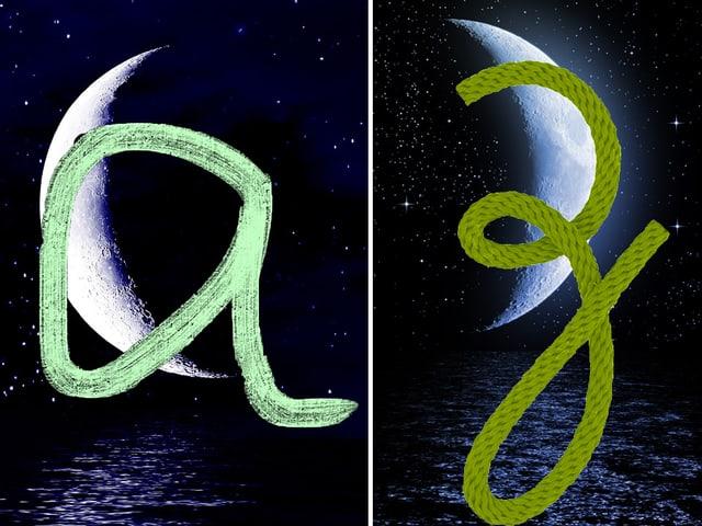 Ein abnehmender Mond mit einem A, ein zunehmender mit einem Z.