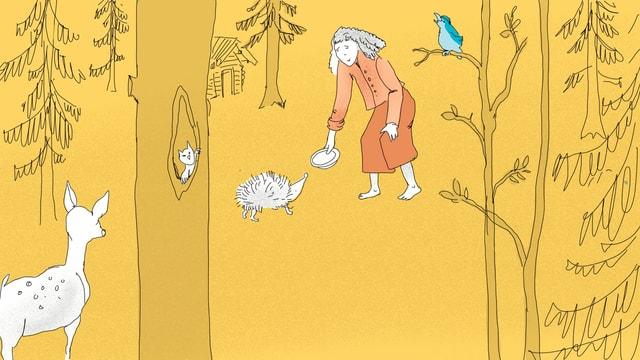 Eine Illustration einer Frau im Wald. Sie füttert einen Igel. Auf einem Baum sitzt ein Vogel. Ein Reh schaut zu.