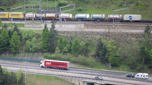 Camiun e viafier transporteschan la rauba tras las Alps.