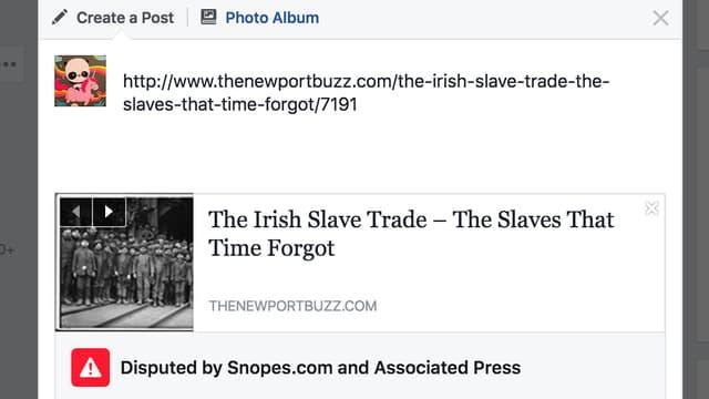 Vorschau zu einem Artikel auf Facebook. Unterhalb ein Rotes Viereck mit Ausrufezeichen.