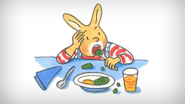 Hase Karlchen beim Essen