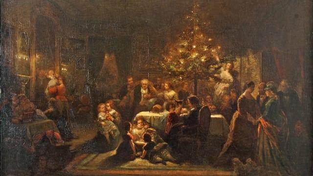 Ein Gemälde, das eine Weihnachtsfeier um 1850 zeigt.