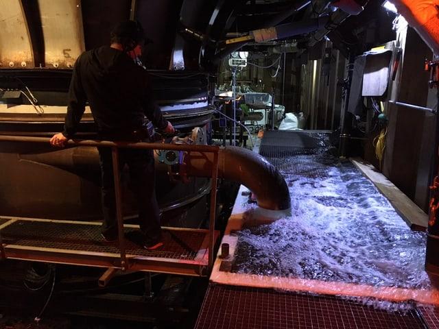 Aus einem Rohr fliessen grosse Mengen an Wasser in ein Becken, das mit einem Gitterrost abgedeckt ist.