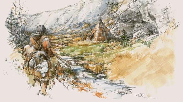 Illustration: Ein steinzeitlicher Jäger nähert sich einem Zelt.