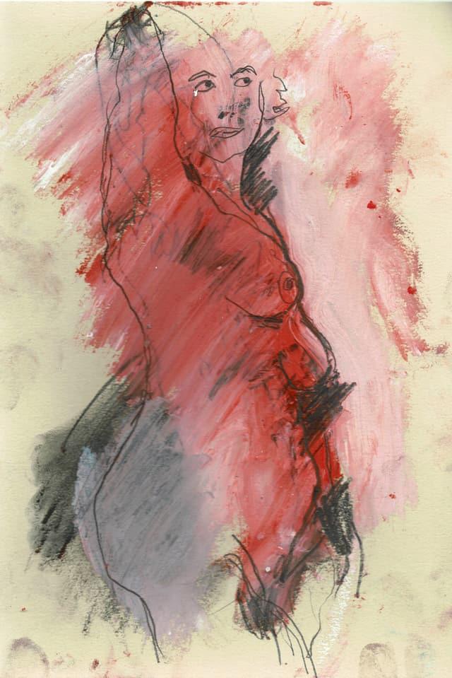 Eine Zeichnung einer nackten Frau.