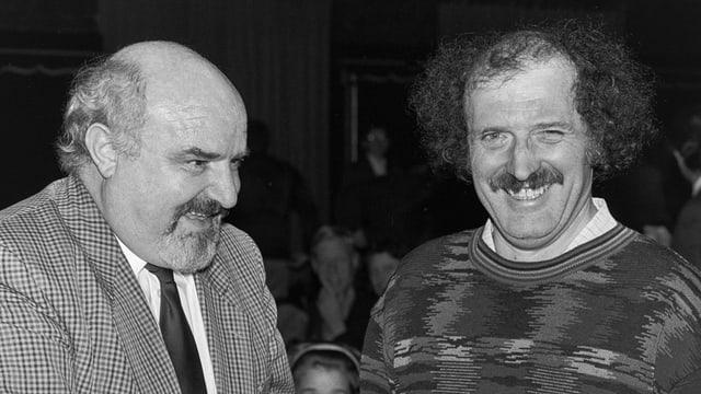 Hansruedi Striebel und Urs Widmer bei der Übergabe des Basler Literaturpreises