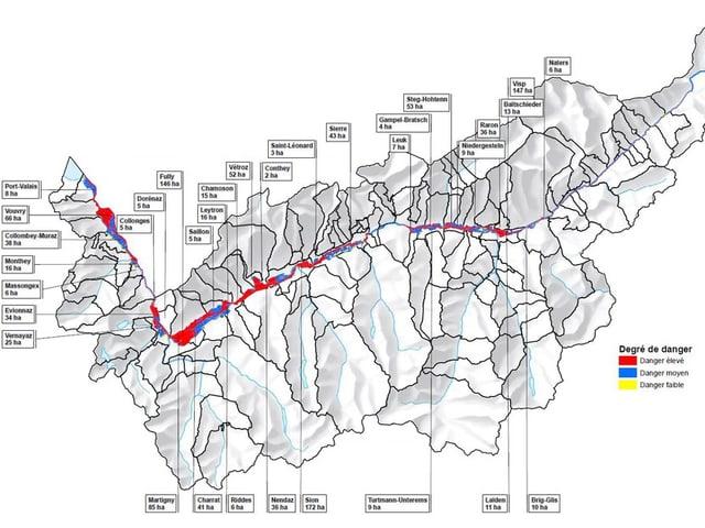 Karte des Wallis