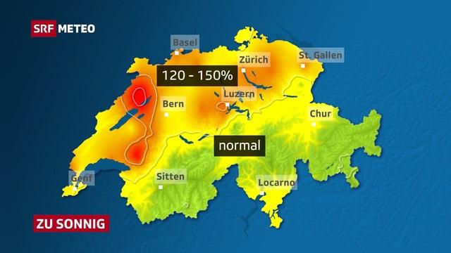 Karte mit dem Sonnenstundenvergleich.