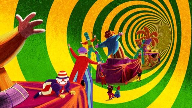 Bunte Zeichnung mit in Farbspirale tanzenden Spielfiguren