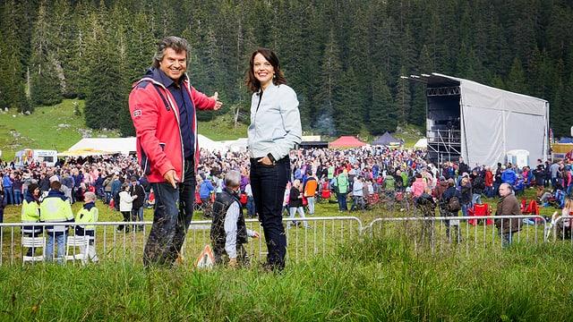 Mona Vetsch mit Andy Borg beim Schlager Open Air