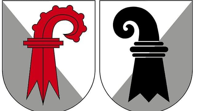 Die Kantonswappen von Basel-Stadt und Baselland.